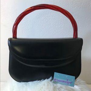 Handbags - Vintage Bakelite Handle Supreme Leather Handbag
